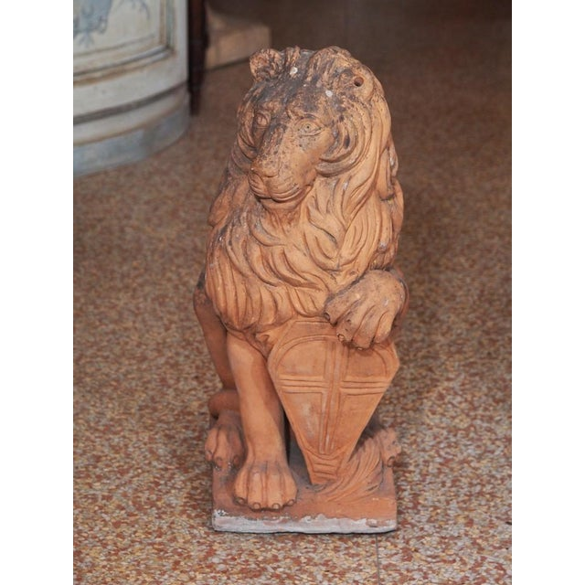 Early 19th Century Early 19th Century Italian Terra Cotta Lions - Pair For Sale - Image 5 of 9