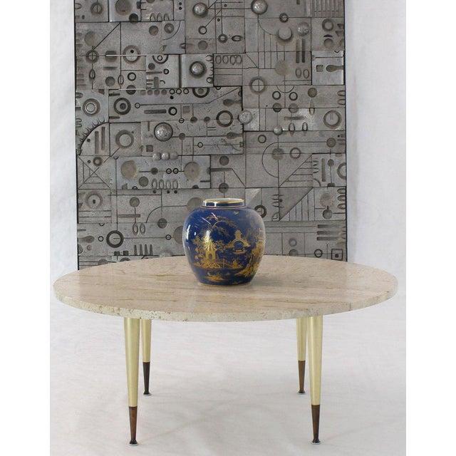 Midcentury Italian Modern Gio Ponti looking travertine top coffee table on Fine metal base.