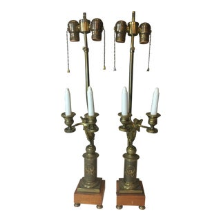 Empire Style Gilded Bronze Candelabra Table Lamp - a Pair For Sale