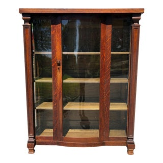 Antique Arts & Crafts Quatersawn Oak Carved Bookcase Cabinet For Sale