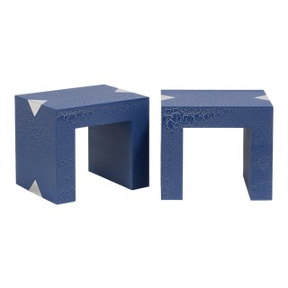 The Rectangular Crackle Side Tables by Talisman Bespoke (Navy and Silver) For Sale