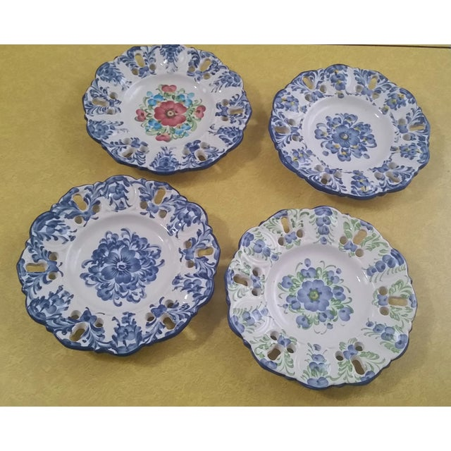Boho Chic Vintage Jay Willfred Portugal Hand Painted Porcelain Plates - Set of 4 For Sale - Image 3 of 10
