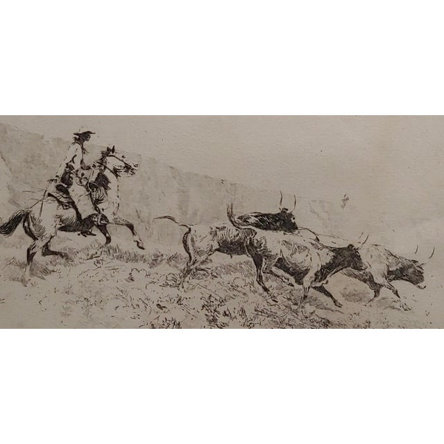 Edward Borein -Cowboy Rounding Up Cattle -1930s Etching For Sale - Image 4 of 9