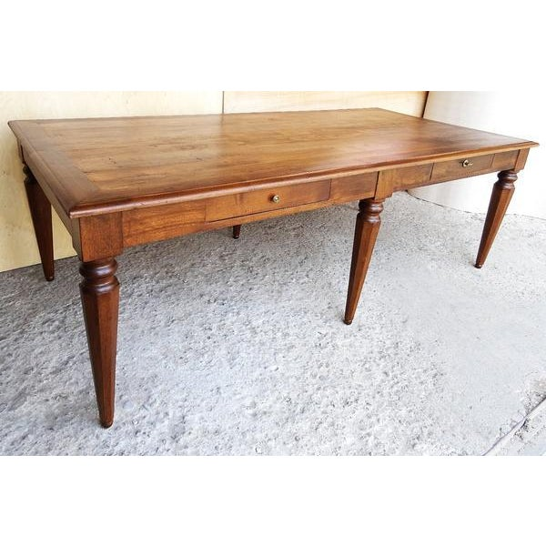 Antique French Oak Legged Dining Table Conference Table Desk - Antique conference table