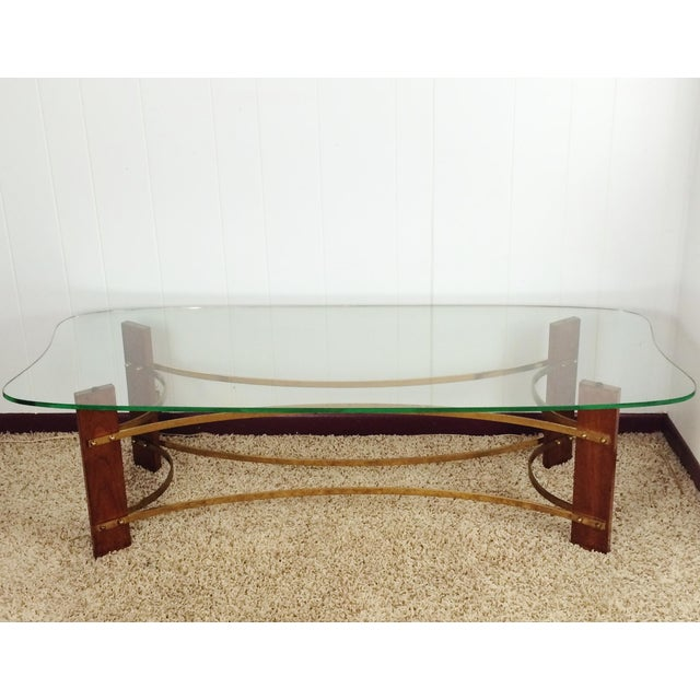 Mid-Century Wood and Glass Coffee & Lighted Side Table 3 Pc Set For Sale - Image 6 of 11