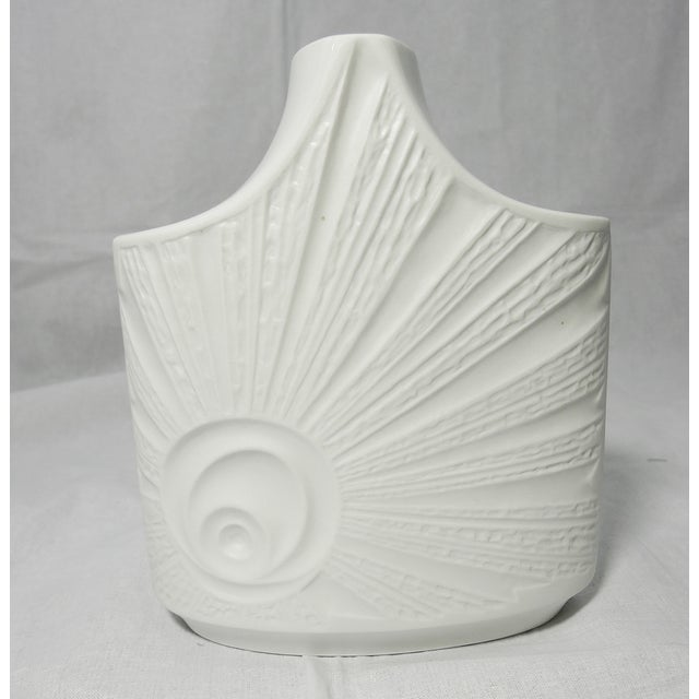 White 1960s bisque porcelain vase with glazed top by Edelstein, Germany. No chips or cracks. The Edelstein porcelain...