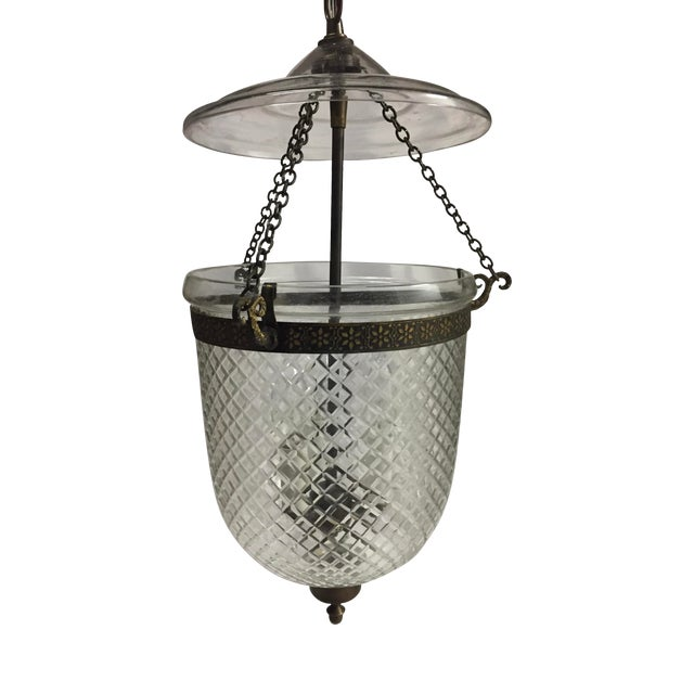 1970s Bell Jar Lantern With Etched Glass For Sale