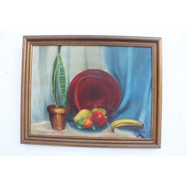 Vintage still life Figural abstract scene of fruits , plant and plate on the table signed painting by N. JACOBS , circa of...