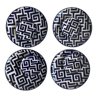 Navy & White Greek Key Plates - Set of 8 For Sale