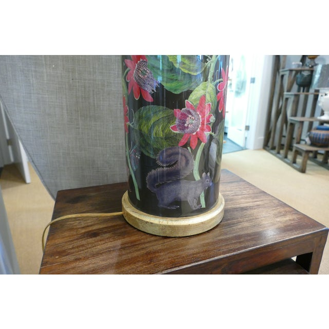 Decoupage Flower Lamp With Green Painted Shade For Sale - Image 9 of 12