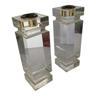 Charles Hollis Jones Lucite Candle Stick Holder, Pair For Sale