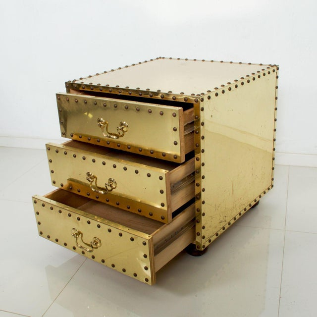 For your consideration: SARREID Ltd from Spain, Studded Brass Clad Nail Head Chest-Three Drawer Nightstand. 1970s Vintage...