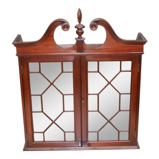 Mid-20th Century Traditional Mahogany Wall Curio Cabinet For Sale