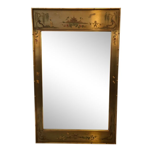 Asian Chinoiserie Faux Bamboo Casa Bique Handpainted Mirror For Sale
