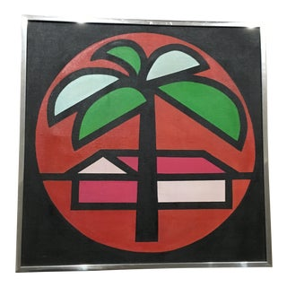 1970s Mid-Century Modern Tropical Painting by Lisa Leventhal For Sale