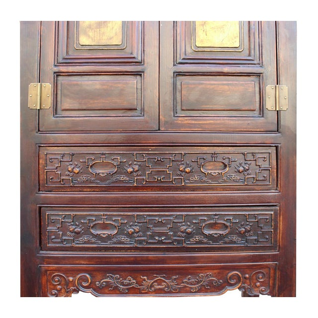 Chinese Fujian Brown Golden Carving Graphic Armoire Storage Cabinet For Sale - Image 5 of 7