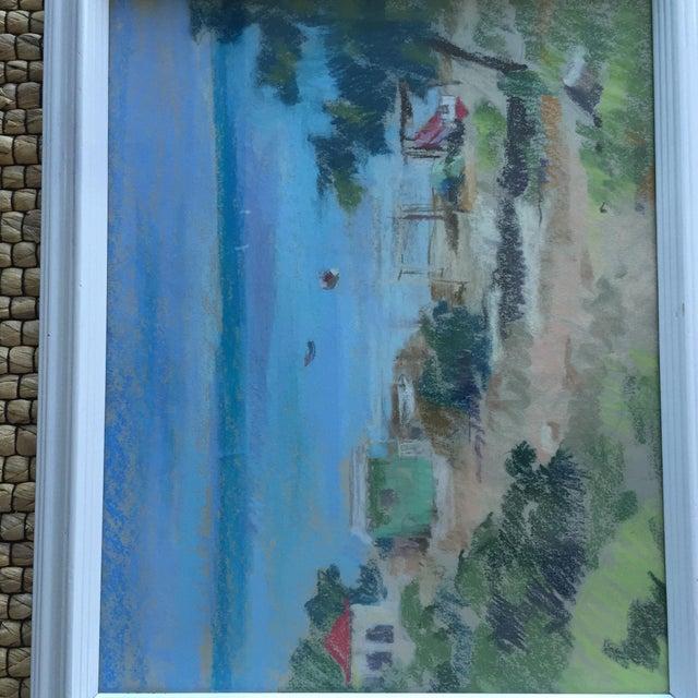 Original Oil Pastel Caribbean Coastal Seascape Framed Art For Sale - Image 10 of 11