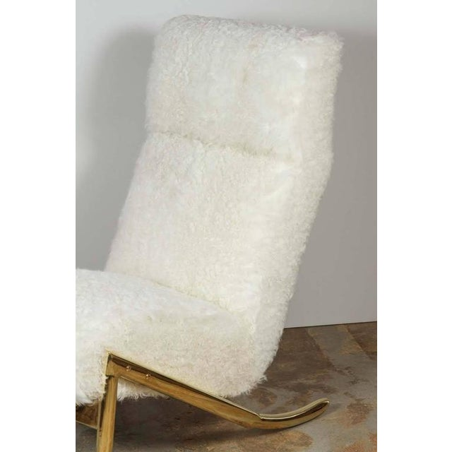 Paul Marra Slipper Chair in Brass with Curly Goat - Image 4 of 7