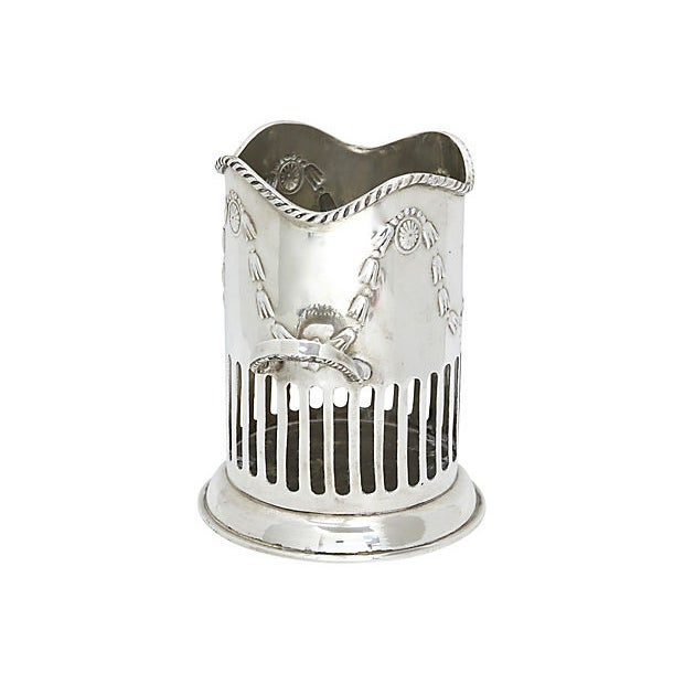 English silver-plate wine caddy. Very good quality. No maker's mark, Light wear.
