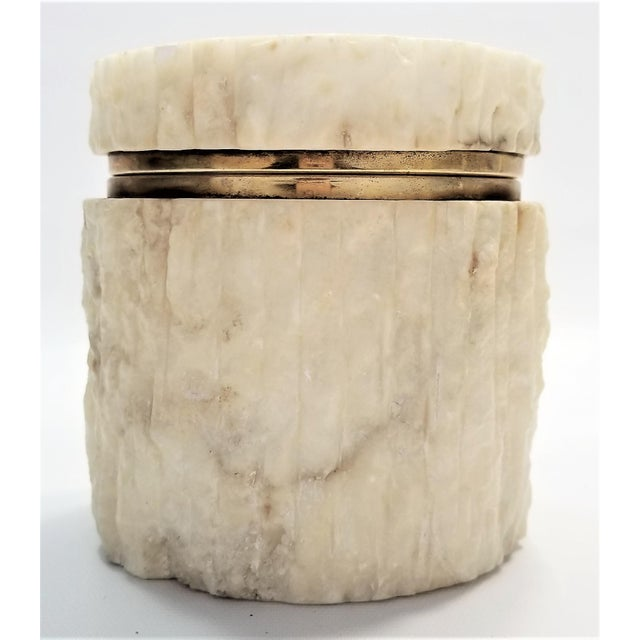 Offering a very unique large vintage Italian alabaster marble jewelry box, circa 1960s. This amazing cream colored...