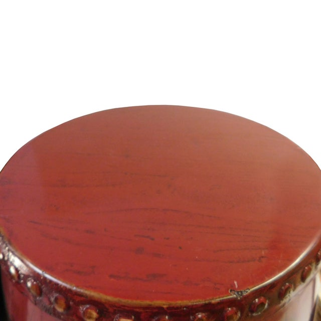 Chinese Red Round Barrel Wood Stools - Pair - Image 3 of 7
