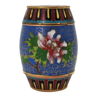 Mid-Century Asian Cloisonné Barrel Box For Sale