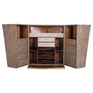 3 in 1 Bar Unit in Mink Shagreen & Shell and Bronze-Patina Brass by R&y Augousti For Sale