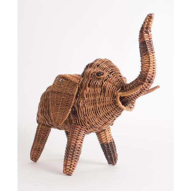 Mario Lopez Torres Vintage Wicker Elephant Statue For Sale - Image 4 of 13