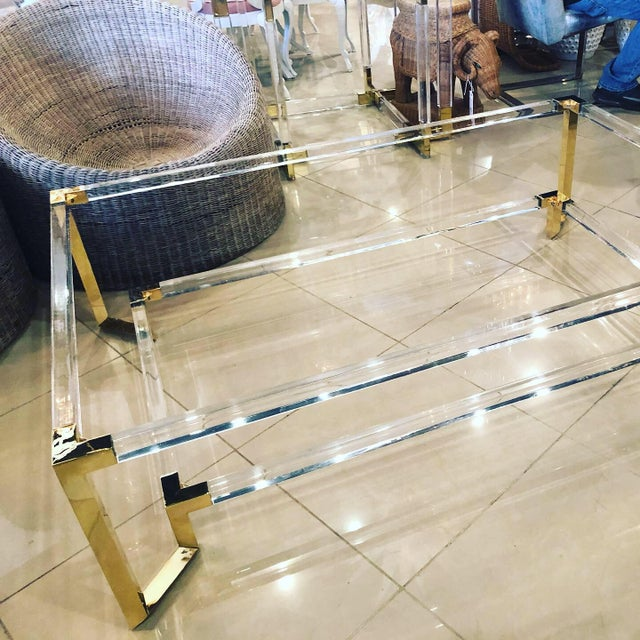 Vintage Hollywood Regency Geometric Brass and Lucite Two Tier Glass Cocktail Table For Sale - Image 11 of 12