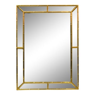 Mid Century Modern Brass Faux Bamboo Wall Mirror Italy