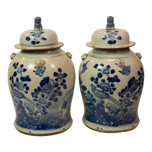 Antique Blue & White Ginger Jars - A Pair - Image 1 of 9