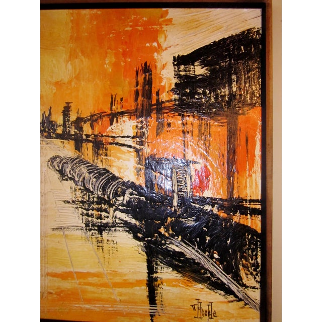 Mid-Century Modern Signed Van Hoople Modernist Industrial Abstract Landscape Impasto Style Oil on Canvas Painting For Sale - Image 4 of 9