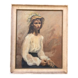 1940's Oil Painting of Girl with Straw Hat