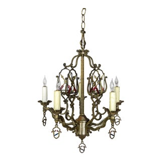 1920s Vintage Medieval Revival Coat of Arms and Painted Arrows Chandelier For Sale