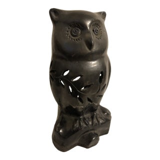 1930s Original Dona Rosa Blackware Owl Mexican Pottery Candle Lamp For Sale