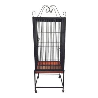 Vintage Restored Black Wrought Iron Birdcage For Sale