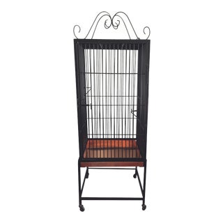 Vintage Restored Black Wrought Iron Decorative Birdcage For Sale