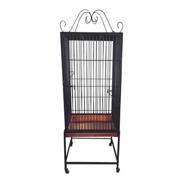 Vintage Restored Black Wrought Iron Decorative Birdcage For Sale