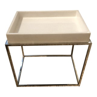Modern Tray Top Side Table With Chrome Base For Sale