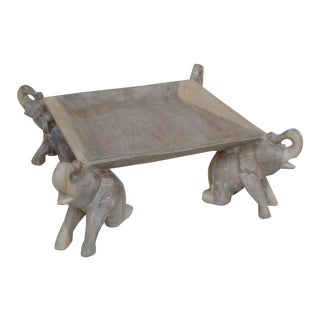 Wood Elephant Table Top Fruit Display Tray For Sale