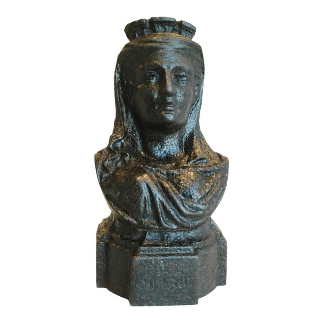 19th Century French Cast Iron Lady Bust Fragment - Image 1 of 7