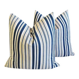 "New England Nautical Striped Feather/Down Pillows 24"" Square - Pair"