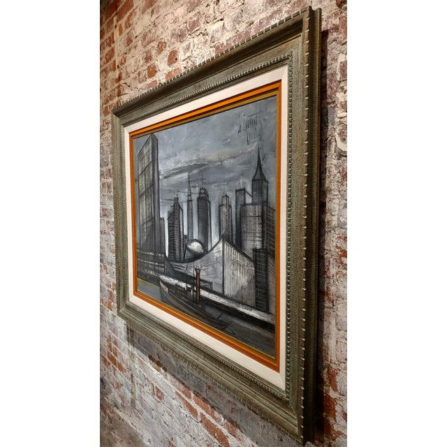 Gold Regis De Cachard - New York Skyline 1961 -Oil Painting For Sale - Image 8 of 10