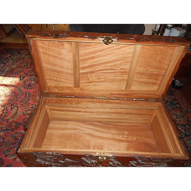 Antique Original Hand Carved Mahogany Chest/Coffee Table-Camphorwood Lined For Sale In Cincinnati - Image 6 of 10