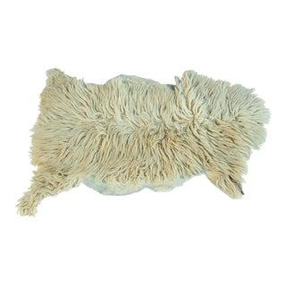 White Natural Angora Plush Sheepskin Accent Rug For Sale