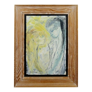 Mid Century Modern Framed Signed Lillian Desow Fishbein Painting Oil on Board For Sale