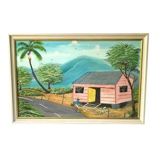 1990s Landscape Jamaican Folk Art Painting