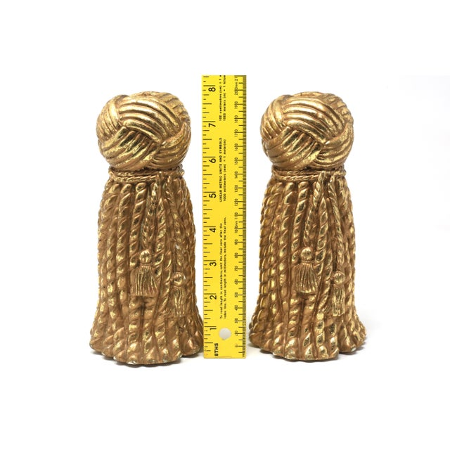 Vintage Gold Rope and Tassel Candlesticks For Sale - Image 9 of 10