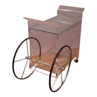 Vintage Hollywood Regency Rolling Serving Cart Curved Lucite and Glass Circa 1970s For Sale