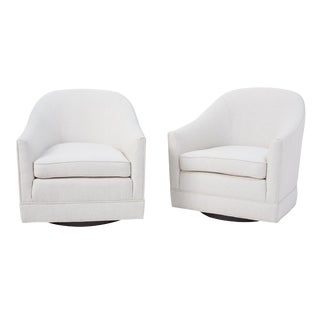 Mid-Century Newly Upholstered Swivel Chairs- A Pair For Sale